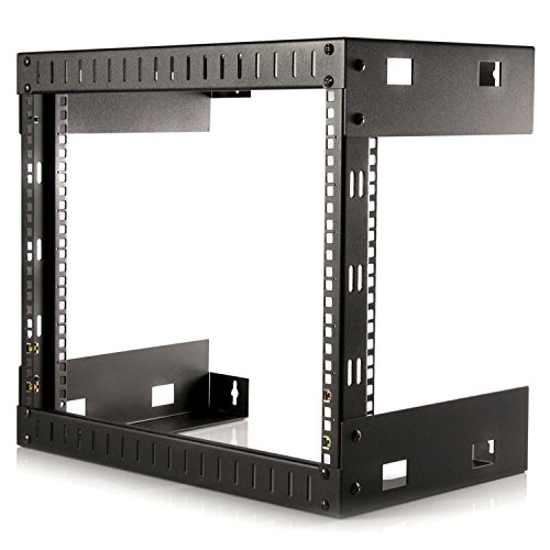 StarTech RK812WALLO 8U Open Frame Wall Mount Equipment Rack - 12-Inch Deep (Black)