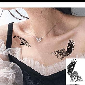 LFVGUIOP Sketch Negro Tatuaje Temporal de Las Mujeres clavícula ...