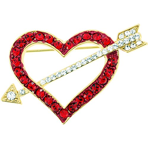 Red Heart Swarovski Crystal Pin Brooch (Heart Pin Rhinestone)