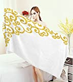 warmfamily Gold and White 3D Printed Microfiber Beach Towel Side Frame of Floral Ivy Round Swirl Antique Victorian Details Artwork Thick Towels Yellow and White