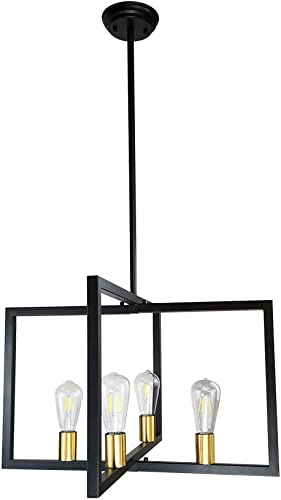 LMSOD 4 Light Kitchen Island Pendant Lights Modern Chandelier Industrial Ceiling Lighting Fixture Matte Black with Antique Brass Finish