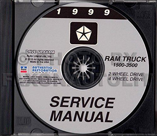 1999 DODGE RAM TRUCK SHOP/BODY MANUAL ON CD-COVERS 2 & 4 WHEEL DRIVE - 1500, 2500, and 3500, half ton, three quarter ton, and one ton, Gas and Diesel