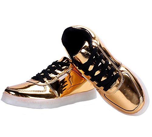 Tortor 1Bacha Unisex Men Women Fashion Metallic LED Light Up Flashing Glow Luminous Sneaker Skate Shoes Gold KyqK3PV1