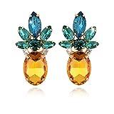 Lovely Pineapple Studs Earrings | Shining Rhinestone Dangle Earrings | Tropical Style Fashion Jewelry | Elegant Classy Design Statement Earrings