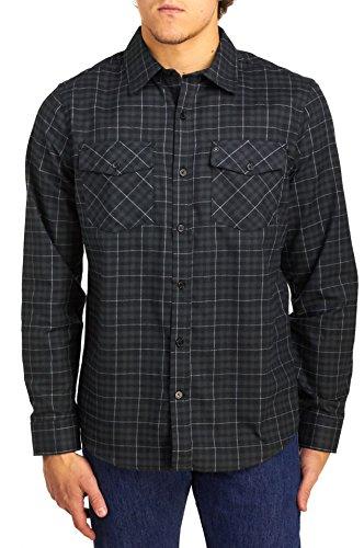 Bay Flannel Shirt - Hurley Men's Dri-Fit Long Sleeve Cascade Twill Flannel Shirt, Black, Small