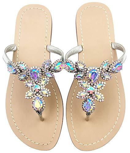 Hinyyrin Women's Rhinestone Sandals, Bohemia Flat Sandals, Low Heel Flip Flop, Jeweled Sandals Silver Size ()