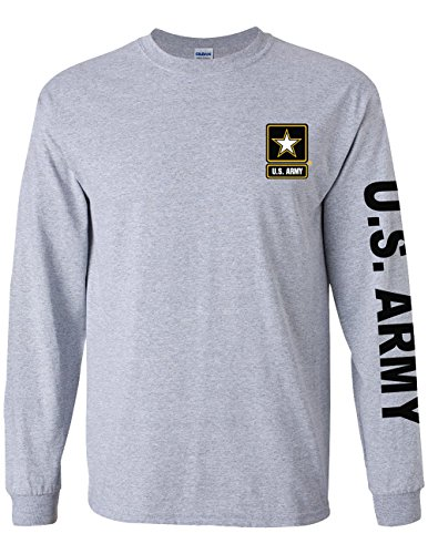 Army Military Branch On Long Sleeve T-Shirt, with Chest - Sleeve Brotherhood Long