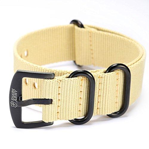 Shark Army Khaki Nylon Sport Military Ourdoor Watchband Watch Strap Band WTL066