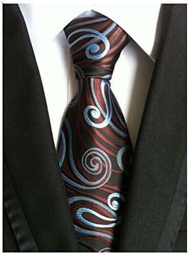 Allbebe Men's Classic Brown Jacquard Woven Silk Tie Microfiber Formal Necktie