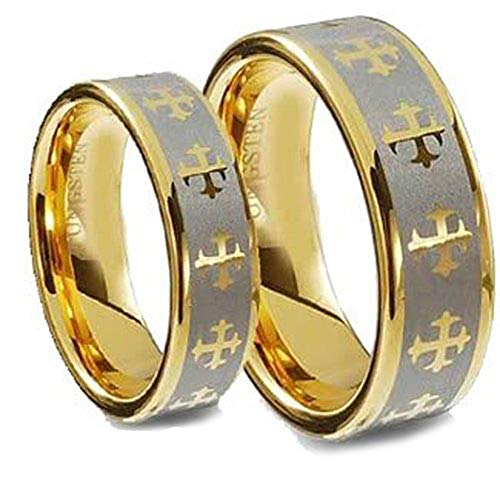 - Free Engraving Men & Ladie's 8MM/5MM Tungsten Carbide Gold Plated Wedding Band Ring Set w/Laser Etched Celtic Cross
