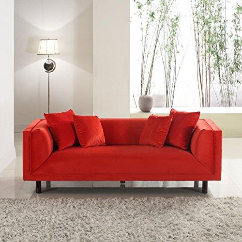 Divano Roma Furniture Modern Contemporary Velvet 3 Seater Sofa - Red by Divano Roma Furniture