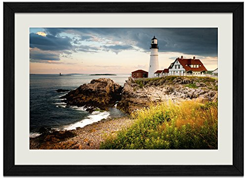 Elizabeth Lighthouse Cape (Cape Elizabeth Lighthouse - Art Print Wall Black Wood Grain Framed Picture(16x12inches))