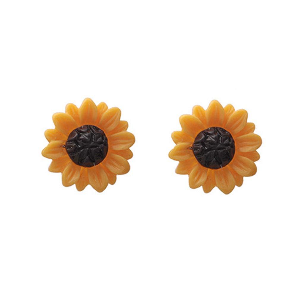 Riverlily Women Girls Sunflower Shape Earrings Sweet Style Ear Clip Pin Girls Flower Stud Jewelry Gift