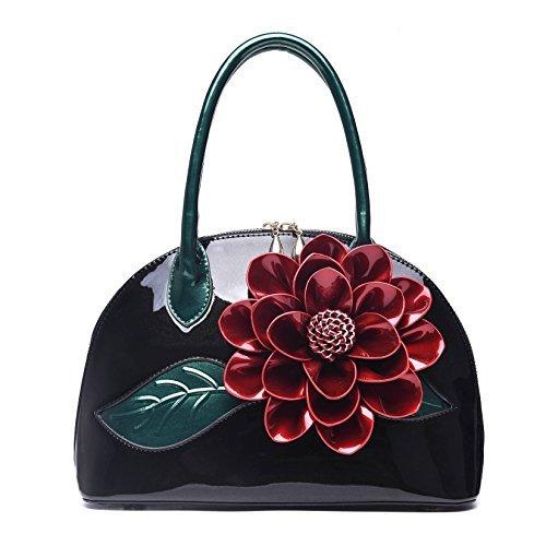 KAXIDY Ladies Handbags Flower Patent Leather Shoulder Bag Handbag Messenger Bags ()