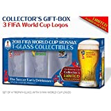 Collectible of 4 FIFA World Cup Trophy-glass / Set of 4 with 3 FWC logos: Russia 2018 (2), Brazil 2014 and South Africa 2010