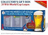 Collectible of 4 FIFA World Cup Trophy-glass/Set of 4 with 3 FWC logos: Russia 2018 (2), Brazil 2014 and South Africa 2010