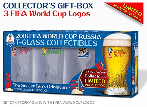 Collectible of 4 FIFA World Cup Trophy-glass/Set of 4 with 3 FWC logos: Russia 2018 (2), Brazil 2014 and South Africa 2010 by Russia 2018 FIFA World Cup Trophy-glass drinkware
