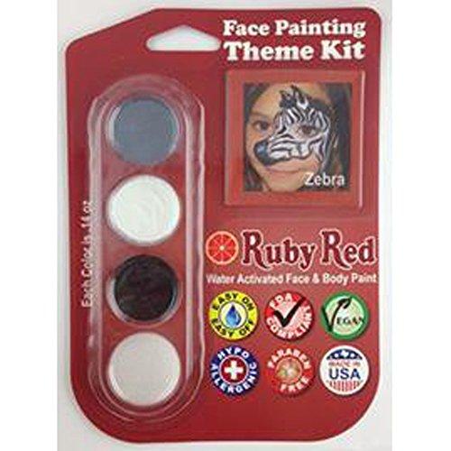 Ruby Red Paint, Inc. THEMEZEBRA Face Paint, 2ML X 3 Colors - Zebra