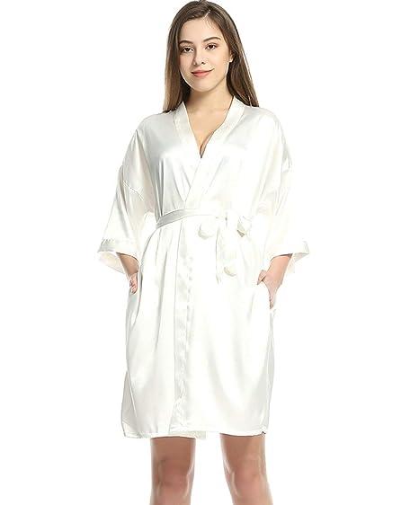meilleur service a7b12 724e2 Peignoir Mesdames Douce Satin Demoiselle d'honneur Kimono 2 ...