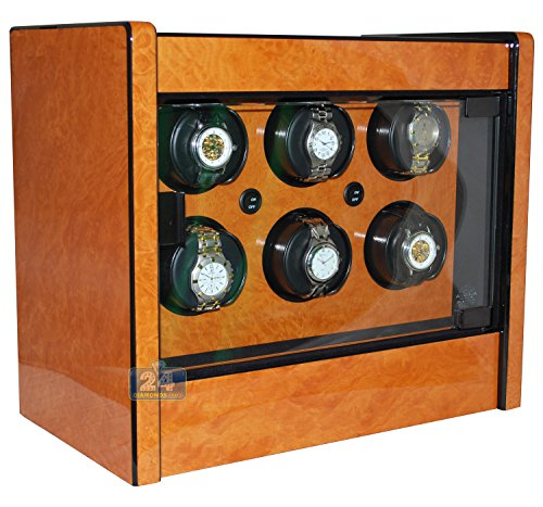 Orbita W22028 Avanti 6 Rotorwind Watch Winder, Burl Wood, Battery Operated