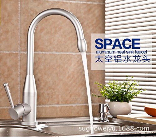 Furesnts Modern home kitchen and Bathroom Sink Taps The tap water aluminum space sink mixer kitchen hot/cold running water to rotate the mixer Bathroom Sink Taps,(Standard G 1/2 universal hose ports)