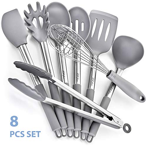 8 Silicone Stainless Steel Nonstick Kitchen Utensil set Silicone Stainless Steel Cooking Utensils set Non-Scratch Cooking Spatulas Kitchen Tool Set and Gadgets by HOM flavor