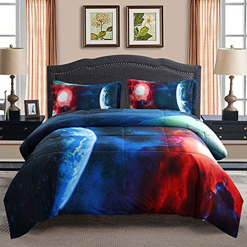 Juwenin bedding, Galaxy Down Alternative 3 Pieces Comforter set With 2 Matching Pillow Covers All Season, Fluffy, Warm, Soft & Hypoallergenic (Twin, xk17001)