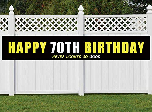 70th Birthday Banner, Large Happy 70th Birthday Sign, 70 Bday Party Decoration Supplies]()