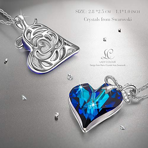 LADY COLOUR Sapphire Heart Pendant Necklace Made with Swarovski Crystals – Gifts for Your Sweet Girl Hypoallergenic Jewelry Gift Box Packing, Nickel Free Passed SGS Test