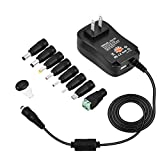 [Upgraded Version] Universal AC/DC Adapter, 30W Universal AC/DC Adapter Switching Power Supply with 8 Selectable Adapter Tips & Micro USB Plug & 5V 2.1A USB Port for 3V to 12V Household Electronics and LED Strip - 2000mA Max by EEO