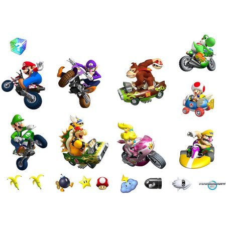 Wii Kart Wall Decorations Removable Mario (Mario Kart Wii Removable Wall)