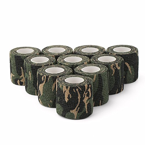 DROK 10 Pcs Woodland Camouflage Cohesive Bandage, 14.76 Feet Non-Woven Fabric Self Adhesive Wrap, Elastic Rolls, Protective Tape for Outdoor Hunting