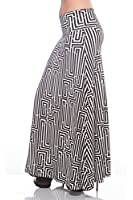 Printed Maxi Length A-line skirt with rollover waist