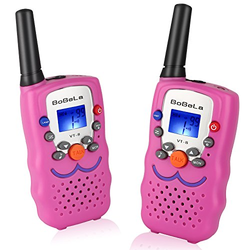 UHF-Two-Way-Radio with Smiley Face as Birthday Gifts, Bobela Girls-Walki-Talki 3-Mile Range 22-Channels Built-in Flashlight Loud Speaker Button Lock LCD Display (2 Pack Pink -