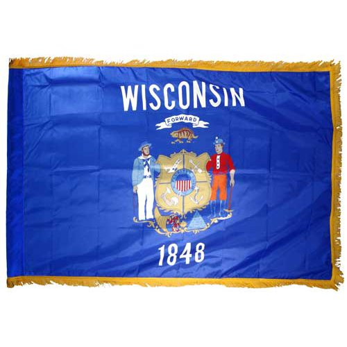 - Online Stores Wisconsin Nylon Flag with Indoor Pole Hem and Fringe, 3 by 5-Feet
