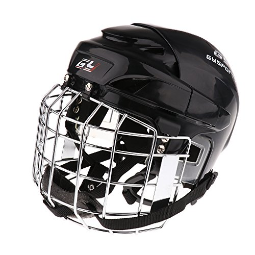 In Line Hockey Helmets (MonkeyJack CE Certificated Impact-resistant Ice Hockey Protective Helmet With Face Mask 4 Colors XS-XL - Black, XL)