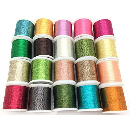 YEQIN 20 pcs Metallic Glittery Polyester Sewing Thread Set (Each spool 50 ()