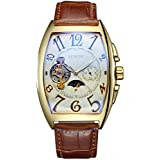 SEWOR Mens Automatic Business Dress Tonneau Moon Phase Wrist Watch Mechanical Self Wind (Gold-1)