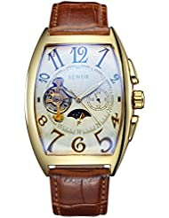 SEWOR Mens Automatic Business Dress Tonneau Moon phase Wrist Watch Mechanical Self Wind (Goldwhite)