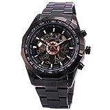 Fanmis Best Selling Black Stainless Steel Russian Skeleton Luxury Men's Automatic Mechancial Wrist Watch