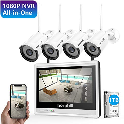 - Wireless Security Camera System with Monitor,Hornbill 1080P 8 Channel Video Security System with 12 Inch Monitor,1TB Hard Drive,4PCS 1.3MP Indoor Outdoor IP Security Camera with Night Vision Free APP