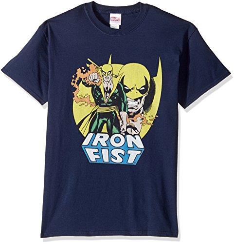 Marvel Men's Iron Fist Standing T-Shirt, Navy 3XL