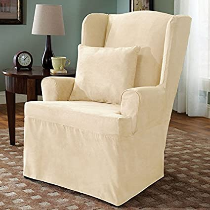 slipcover twill chair with wing essntltwill essential furniture covers wingback surefit large scotchgard ruffled enz collections white ruffle slipcovers
