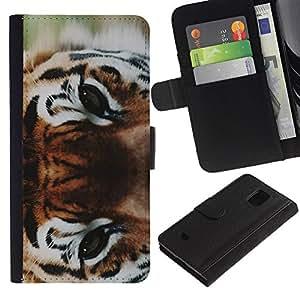 APlus Cases // Samsung Galaxy S5 Mini, SM-G800, NOT S5 REGULAR! // Tigre ojos salvaje gato Bosque Big // Cuero PU Delgado caso Billetera cubierta Shell Armor Funda Case Cover Wallet Credit Card