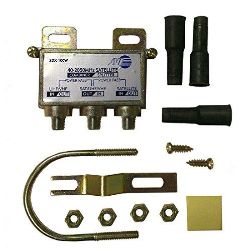 Diplexer Satellite Outdoor Digital Mast Mount Kit 2 GHz Single LNB Signal Antenna Watertight Boots Clamp Off-Air Coupler Splitter Separator
