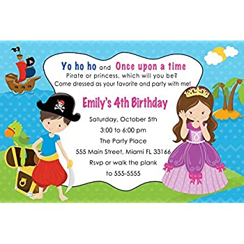 Amazon Com 30 Invitations Pirate Princess Girl Boy Birthday Party