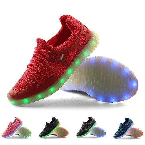 Fckee Nuovo Aggiornato Led Light Up Scarpe Sneakers Lampeggianti Illuminano Scarpe Sportive Ricarica Usb Lampeggiante Scarpe Per Bambini Donna Uomo D / Rose