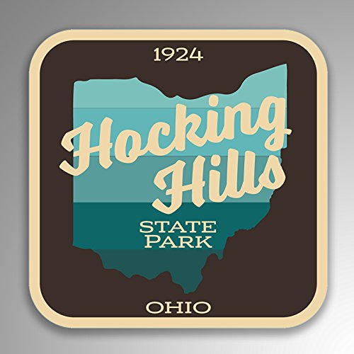 JMM Industries Hocking Hills State Park Vinyl Decal Sticker Ohio Retro Vintage Look 2-Pack 4-inches by 4-inches Premium Quality UV Protective Laminate SPS093 -