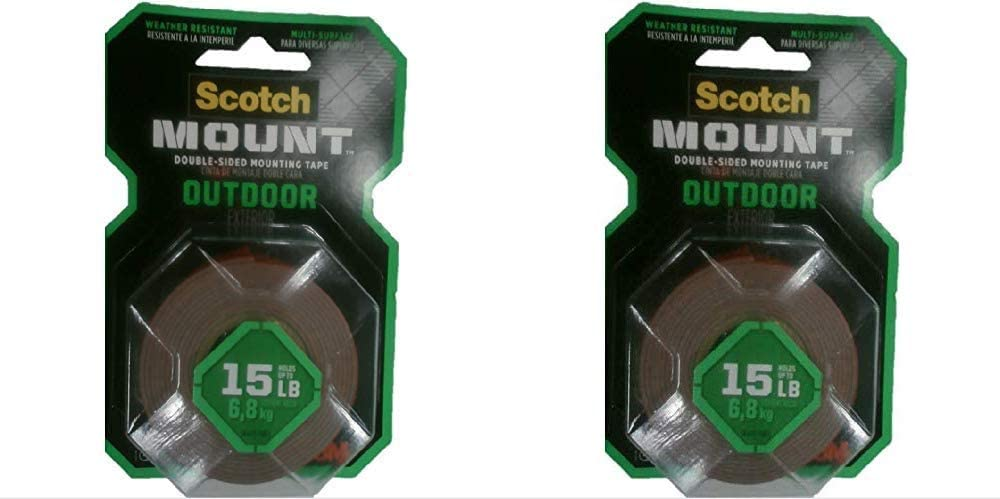 1-Roll Gray x 60-inches 411P 1-inch inches Fastening /& Surface Protection Scotch Outdoor Mounting Tape 15 Pound 1 Scotch Mounting