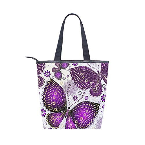 Womens Bag Beautiful Tote Shoulder Purple Handbag Flower MyDaily Canvas Butterfly wR8pqxFx